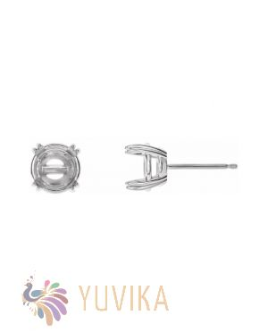 Solitaire Earring Setting 6.5mm - Four Prong - White